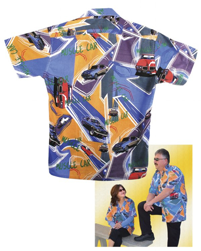 "Limited Edition ""Muscle Car"" Print Sport Shirt, Large"