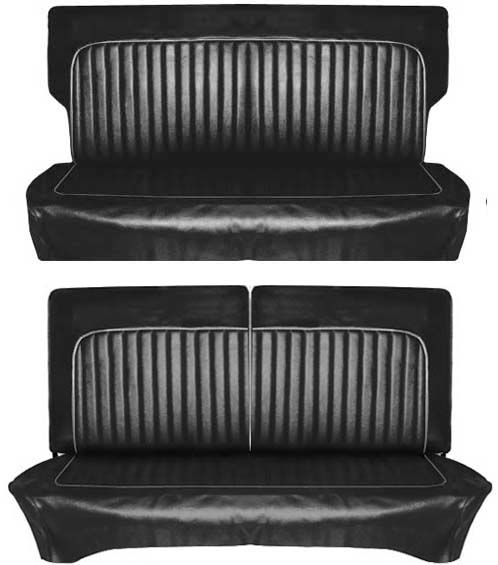 61-62 Falcon 2 Door Station Wagon Deluxe Full Set Seat Upholstery w/ Split Bench, Black