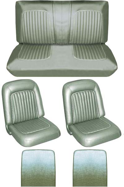 64 Falcon Futura Convertible Full Upholstery Set w/ Buckets, Ivy Gold Metallic