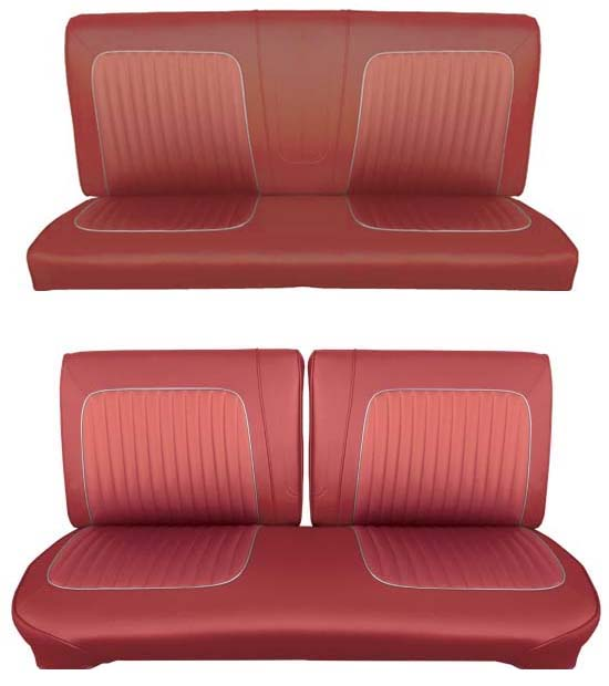 64 Falcon Futura Convertible Full Upholstery Set w/ Split Bench Seat, Red