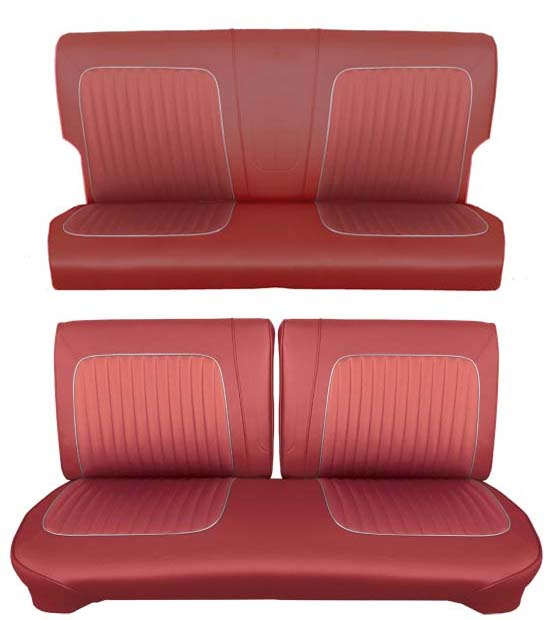 64 Falcon Futura 2 Door Station Wagon Full Upholstery Set w/ Split Bench Seat, Red