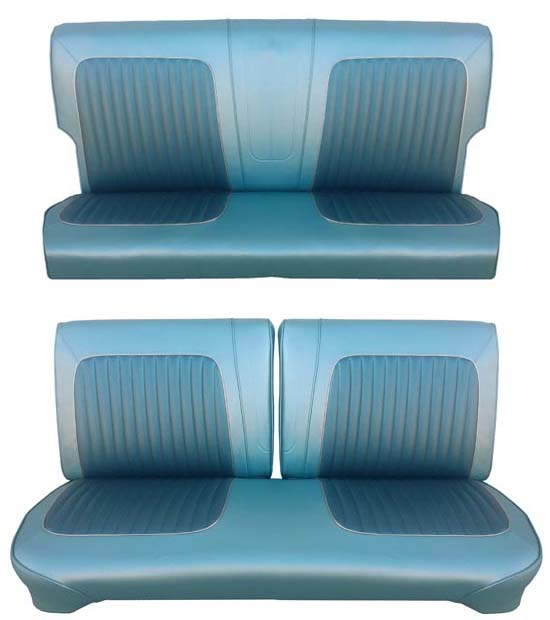 64 Falcon Futura 2 Door Station Wagon Full Upholstery Set w/ Split Bench Seat, Turquoise, Two Tone
