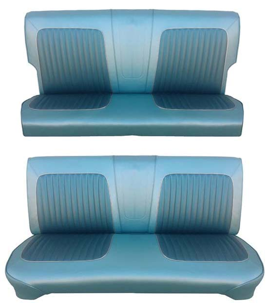 64 Falcon Futura 4 Door Station Wagon Full Upholstery Set w/ Bench Seat, Turquoise, Two Tone