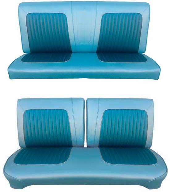 64 Falcon Futura Hardtop Full Upholstery Set w/ Split Bench Seat, Blue Metallic, Two Tone