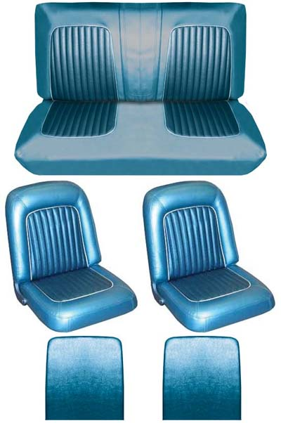 64 Falcon Futura Convertible Full Upholstery Set w/ Buckets, Blue Metallic, Two Tone