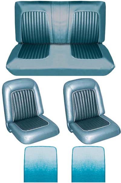 64 Falcon Futura Convertible Full Upholstery Set w/ Buckets, Turquoise, Two Tone
