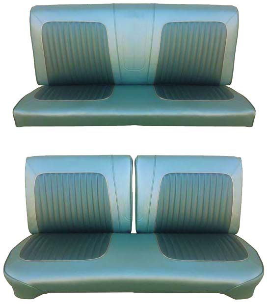 64 Falcon Futura Convertible Full Upholstery Set w/ Split Bench Seat, Turquoise, Two Tone