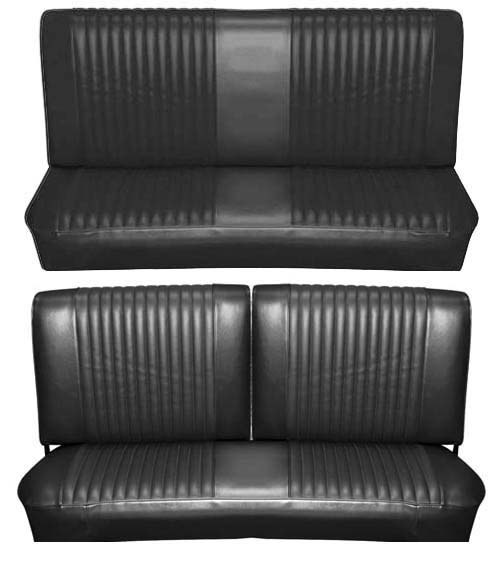 65 Falcon Futura Convertible Full Upholstery Set w/ Split Bench Seat, Black
