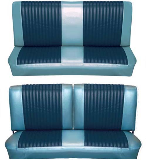65 Falcon Futura Convertible Full Upholstery Set w/ Split Bench Seat, Blue Metallic, Two Tone