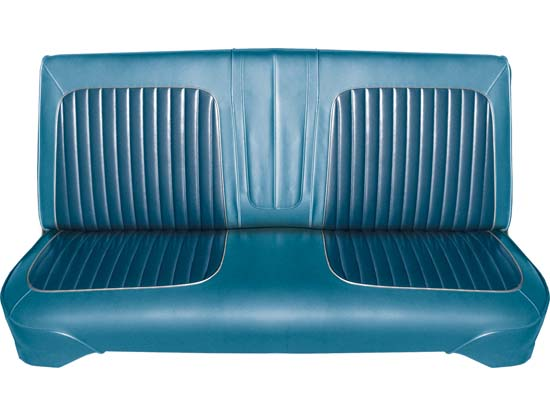 64 Falcon Futura 4 Door Sedan & 4 Door Station Wagon Front Bench Seat Upholstery, Blue Metallic, Two Tone